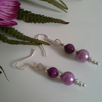 Shell Pearl & Agate Earrings Silver Plated
