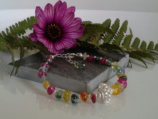 Chakra Style  Bracelet Genuine Multicoloured Quartz Silver Plate