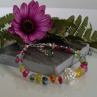 SALE ITEM Chakra Style  Bracelet Genuine Multicoloured Quartz Silver Plate