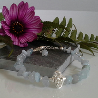 Genuine Aquamarine Bracelet Silver Plated