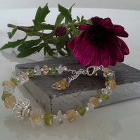 Chakra Style Peridot,  Clear Quartz & Citrine Bracelet Silver Plated