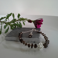 Smokey Quartz Bracelet Silver Plated