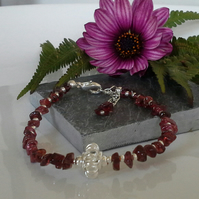 Chakra Style Indian Red Garnet Bracelet Silver Plated