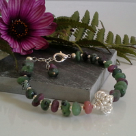 Chakra Style Rare Ruby Zoisite Bracelet Silver Plated