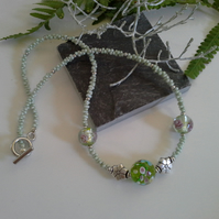 Murano Glass & Seed Bead Necklace Silver Plate