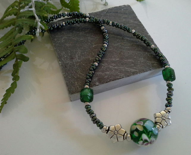 Murano Glass & Seed Bead Necklace Silver Plated