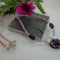 Murano Glass, Shell Pearls & Seed Bead Necklace Silver Plated