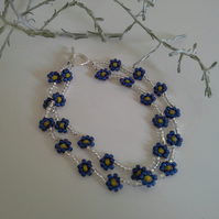 Seed bead Daisy Bracelet Silver Plated
