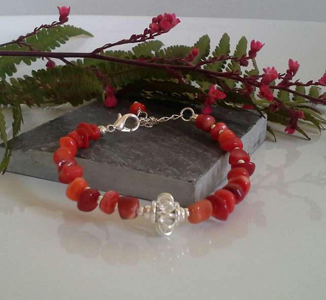 Chakra Style Red Coral Bracelet Silver Plated