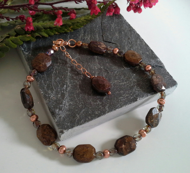 Genuine Rare Bronzite & Crystal Bracelet Rose Gold Plated