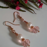 Freshwater Pearl & Faceted Crystal Earrings Rose Gold Plated