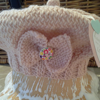Baby Girls Hand Knitted Beret  0-6 month size