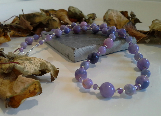 Lavender Opal & Amethyst Sterling Silver Necklace