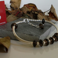 AA Grade Smokey Quartz Sterling Silver Bangle