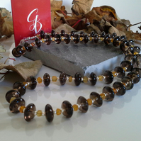 AA Grade Smokey Quartz & Citrine Sterling Silver Necklace