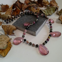 Tourmaline & Pink Coated Quartz Sterling Silver Necklace