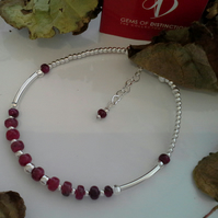 Genuine Ruby Sterling Silver Stacker Bracelet