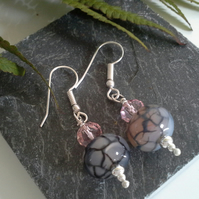 Snakeskin Agate & Crystal Silver Plate Earrings