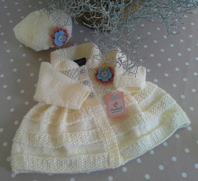Baby Girl's Jacket & Hat Set 0-6 Months Size