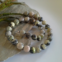Prehnite & Agate Sterling Silver Necklace