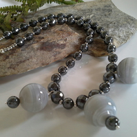 Gray Lace Agate & Faceted Heamotite Silver Plate Necklace