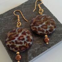 Mother of Pearl Lepoerd print & Shell Pearl  Earrings Gold Plate