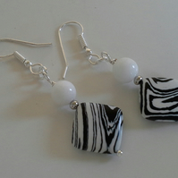 White Jade & Printed Howelite Earrings Silver Plate