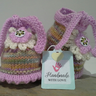 Baby Girl's Flower Bootie-Slippers  3-9 months size