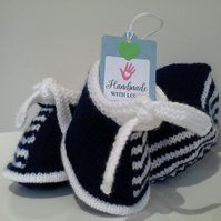 Baby Boy's Hat & Booties Set  0-6 months size