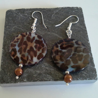 Animal Print Mother of Pearl Earrings Silver Plated