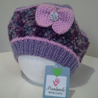 Baby Girls Beret Style Hat with Marino Wool 6-12 months