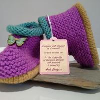 Baby Girl's Aran Slippers - Booties with wool 9-12 months size