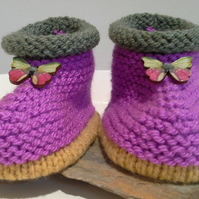 Baby Girl's Knitted Aran Slippers with wool  9-12 months size