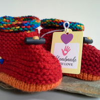 Unusex Knitted Baby's First Slippers with wool  9-12 months size