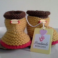 Baby Boy's Slippers - Booties with Wool  9- 12 months