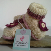 Luxery Pure Merino 'Jeager' Wool Girl's Booties  0-3 months size