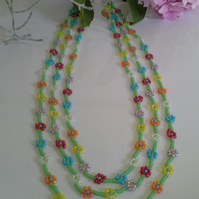 Daisy Chain 3 Strand Seed Bead Necklace Silver Plated