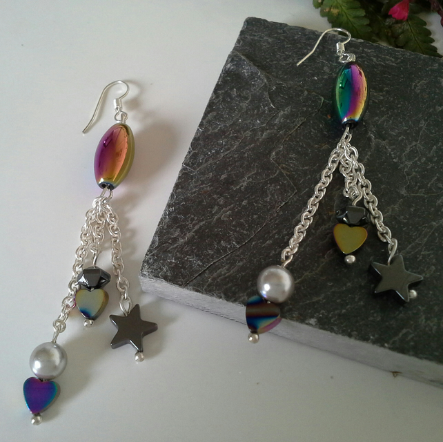 Haematite Dangle Earrings with Sterling Silver Wire Hooks