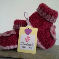 Pure Merino 'Jeager' Aran Wool Booties  0-3 months size