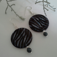 Animal Print Large Disc Shell Earrings Silver Plated