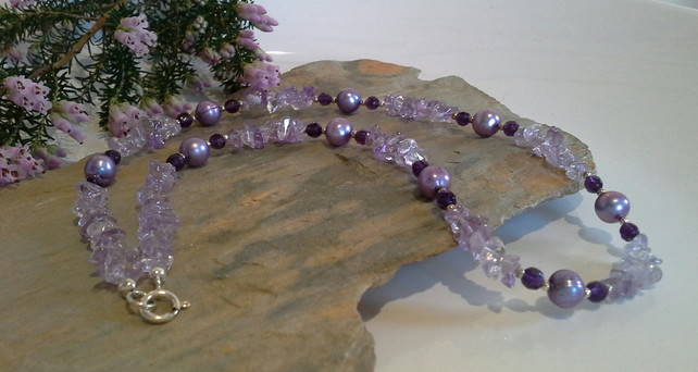 Amatrine,  Amethyst & Freshwater Pearls Sterling Silver Necklace