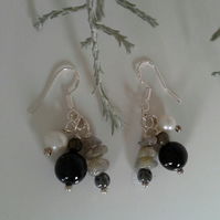Black Onyx, Freshwater Pearls, Labradorite & Heamotite 925 Earrings