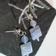 Blue Lace Agate & Agate Sterling Silver Stud Earrings