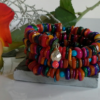 SALE ITEM Mother of Pearl Multicolored Wrap Bracelet & Earrings Set