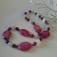 Jasper, Amethyst & Rose Quartz 925 Sterling Silver Necklace