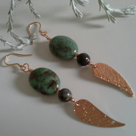 Fancy Jasper Rose Gold Vermeil Earrings