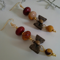 Mookite Gold Plated Dangle Earrings