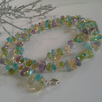 A Grade Peridot, Citrine, Amethyst & Apatite Sterling Silver Necklace