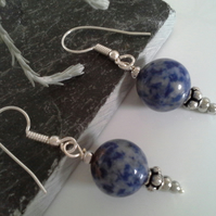 Sodalite Large Round Gemstone and Silver Plated Earrings