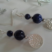 Sodalite Gemstone Earrings Silver Plated